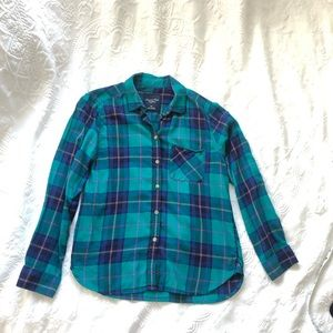 American Eagle Teal Multicolor Flannel Size Small